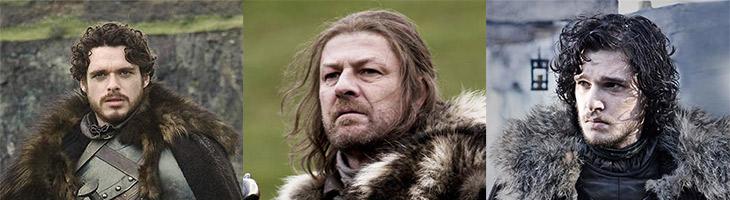 Robb Stark, Ned (Eddard) Stark and Jon Snow