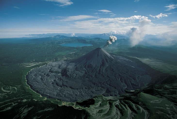 Karymsky volcano erupting, Kamchatka, Russia