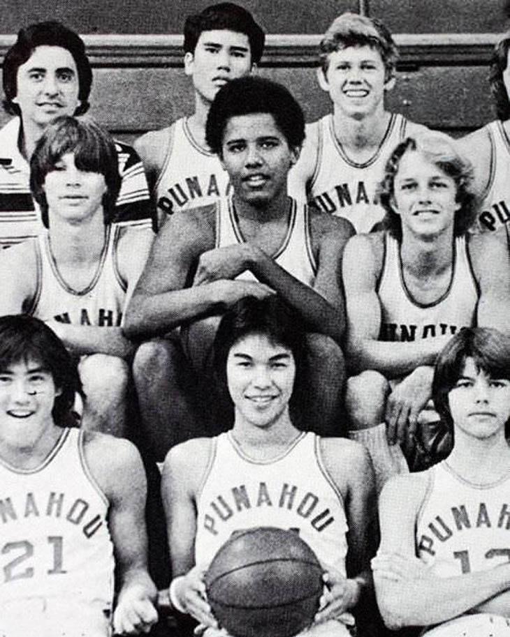 Barack Obama on his high school basketball team