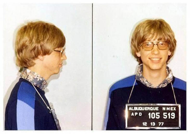 Bill Gates' mug shot for driving without a license 1977
