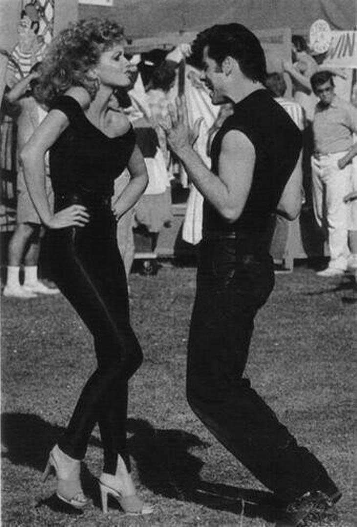 John Travolta & Olivia Newton John rehearsing for GREASE