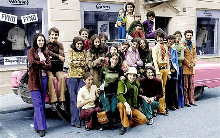 A young Osama Bin Laden with his family in Sweden during the 1970s