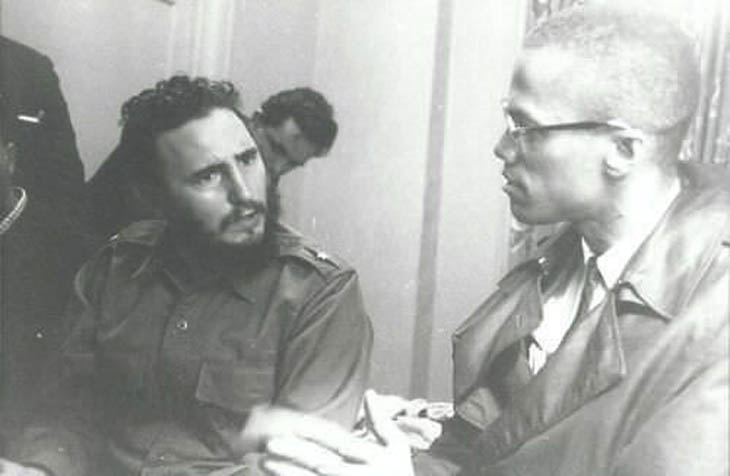 Fidel Castro and Malcolm X discussing politics and family - 1960