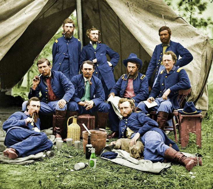 George Armstrong Custer and some of his fellow soldiers, during the American Civil War.