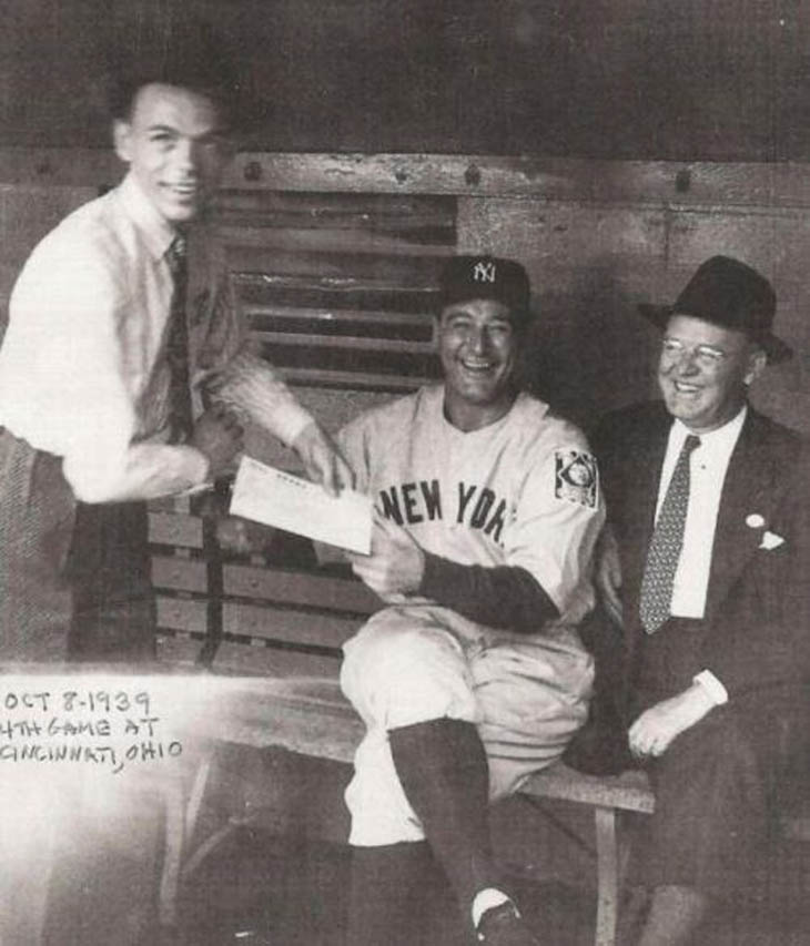 Frank Sinatra asks Lou Gehrig for an autograph in 1939