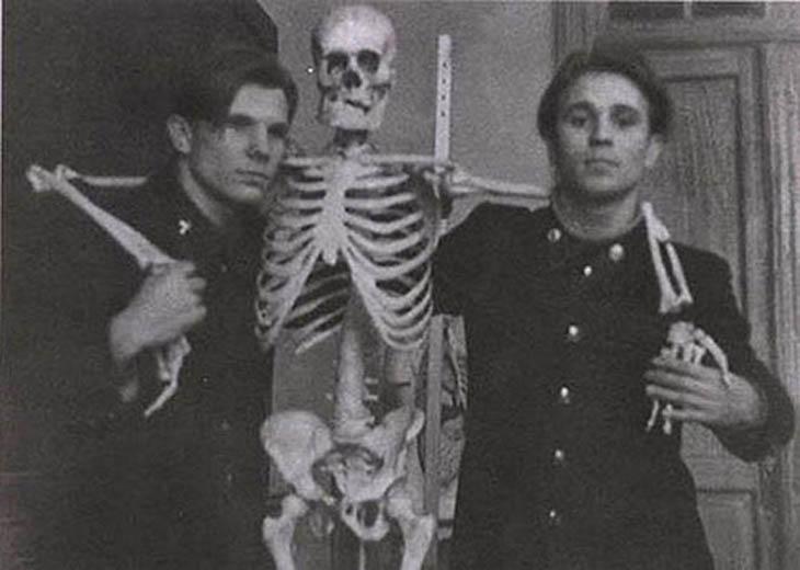 Yuri Gagarin, skeleton and his friend