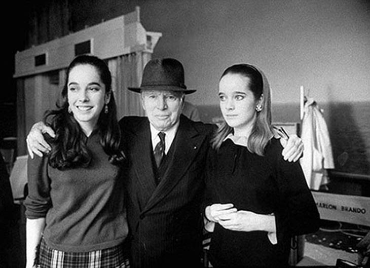 Charlie Chaplin with his daughters Josephine and Victoria, 1966