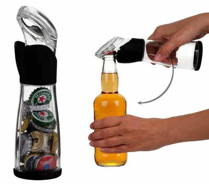 Easily save and collect bottle caps with this crafty bottle opener.