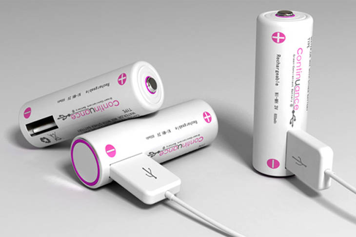 Rechargeable batteries with a USB hub to charge your gadgets easily.