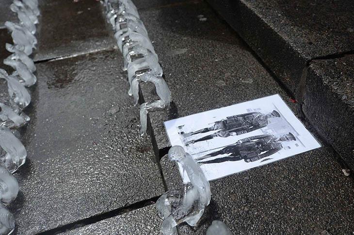The ice art installation in Birmingham's Chamberlain Square.