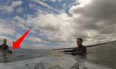 A Surfer Got Shocked When He Found An Unexpected Visitor. This Is Incredible!