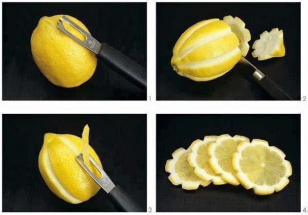 Use a peeler to create awesome lemon flowers.