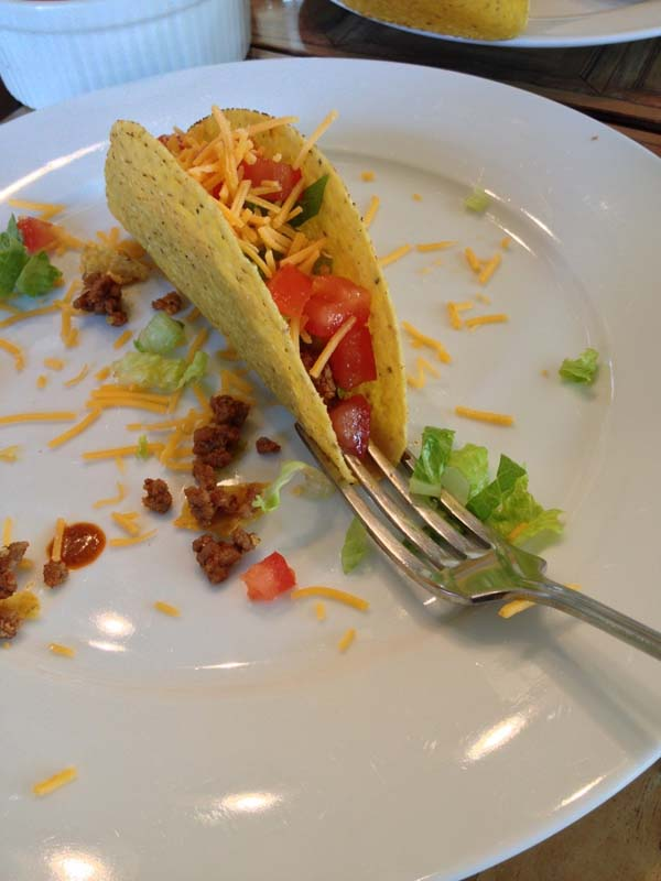 You can use your fork to hold your taco.