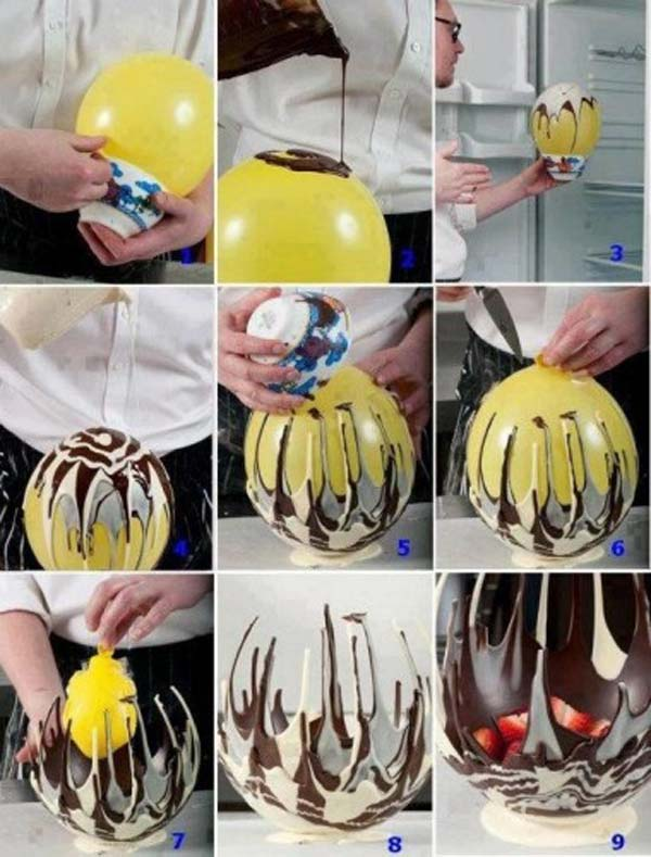 Cool tasty chocolate bowl with a balloon and melted chocolate.