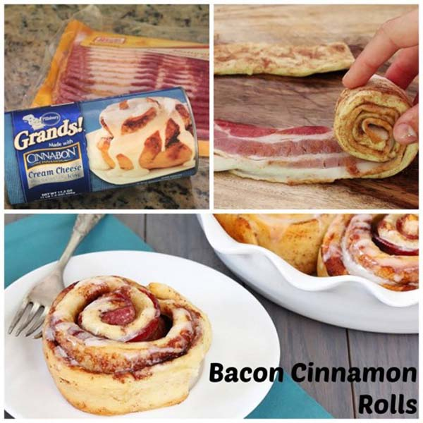 Cinnamon rolls with bacon. Wow!