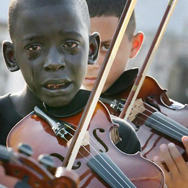 Brazilian boy playing the violin at his teacher's funeral