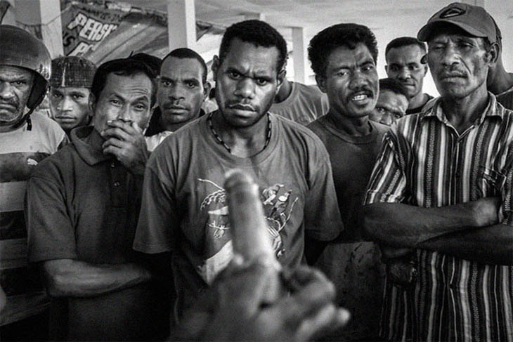 Demonstration of condom usage at a public market in Jayapura, capital of Papua, 2009