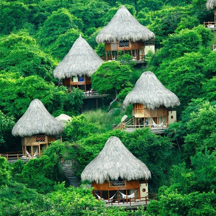 Hang out in the tiny hill hut in Santa Marta, Colombia.