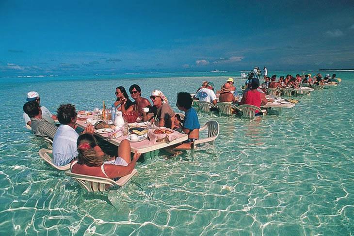 Have you breakfast at the sea restaurant in Bora Bora.