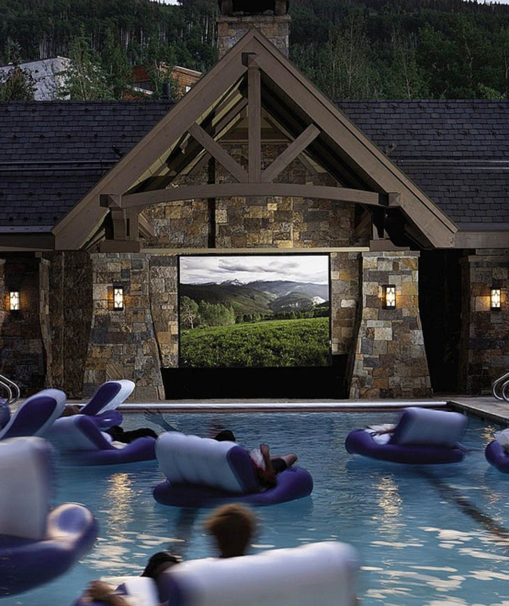 Enjoy your movie in swimming pool movie theater.