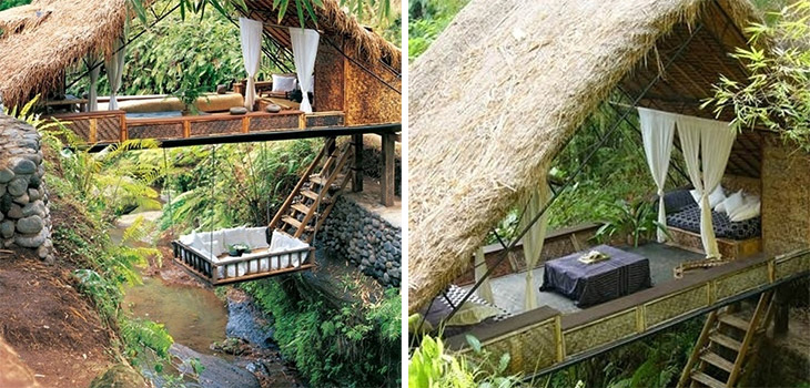 Awesome Lounging Places - Treehouse river resort in Bali.