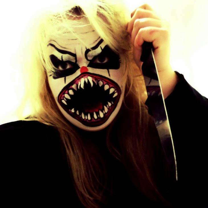 Angry clown Halloween makeup