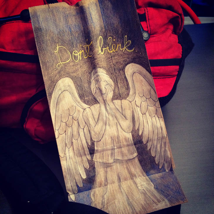 Lunch Bags Art - Weeping Angel