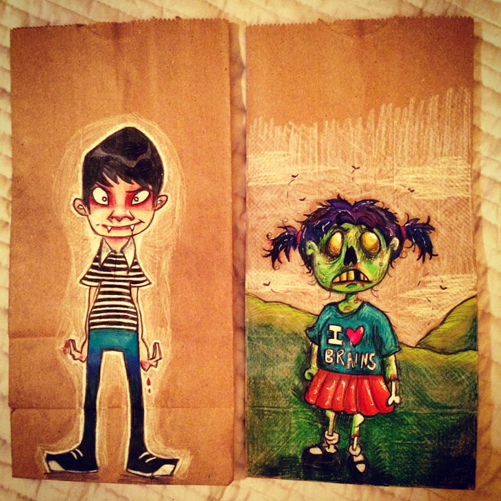 Teen vampire and little girl zombie
