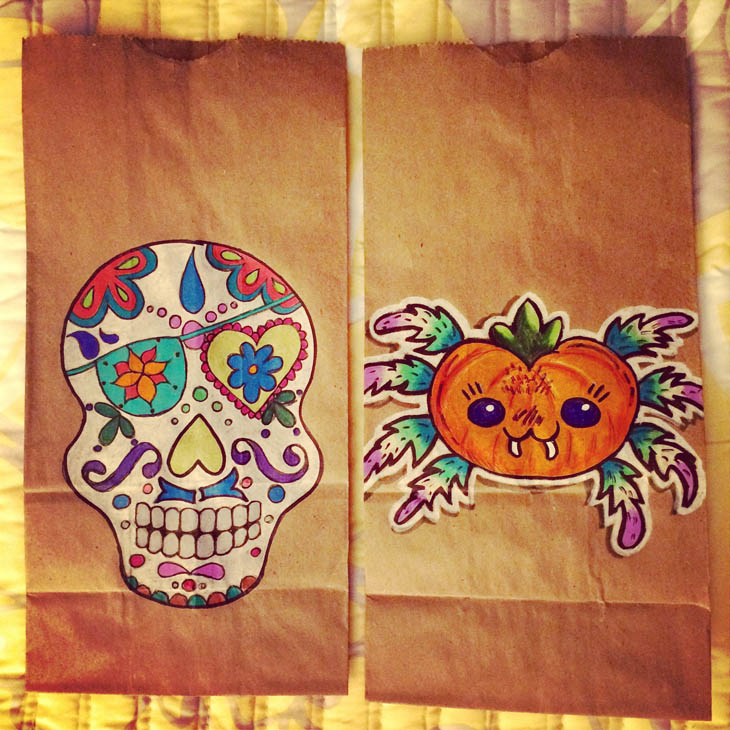 Sugar skull and pumpkin spider