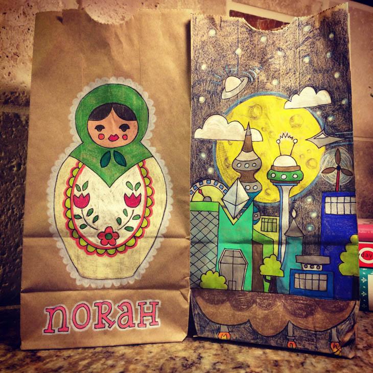 Lunch Bags Art - Matryoshka doll and future city