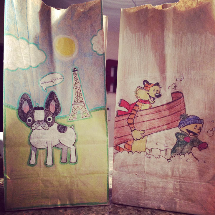 Lunch Bags Art - French Bulldog & Calvin and Hobbes