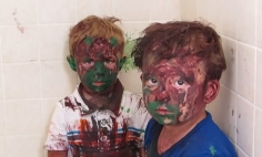 These Cute Kids Covered In Paint Try To Deny They Played With Paint.