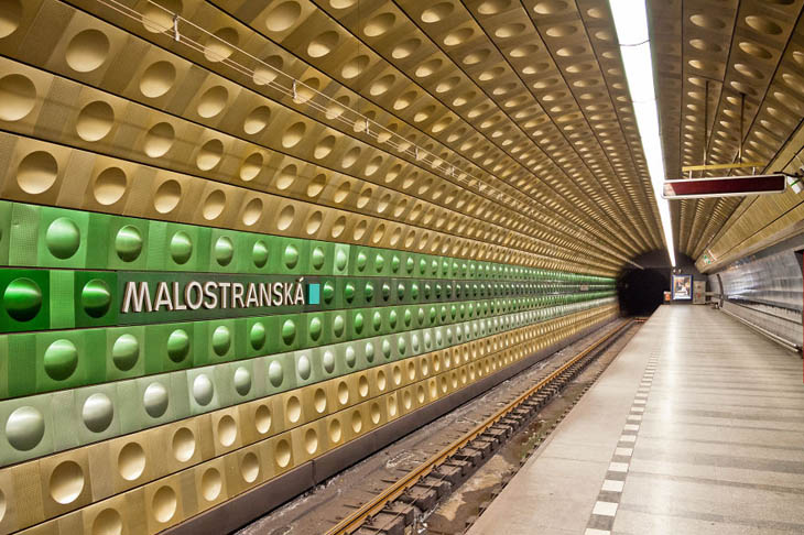 Beautiful Subway Stations - Malostranská Station In Prague.