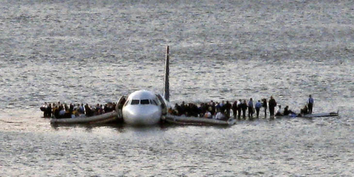 21st century photos - US Airways Flight 1549 floats on the Hudson river after crash landing