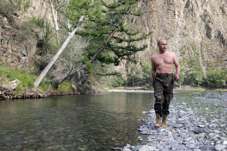 Vladimir Putin shirtless while vacationing and hunting in Siberia.