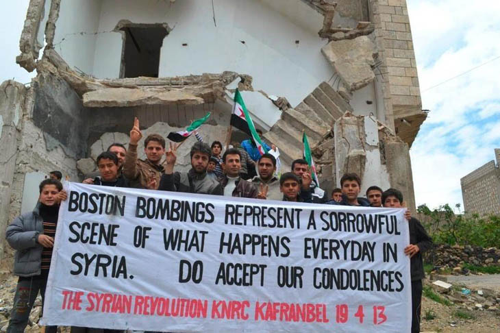 The anti-government Syrian town of Kafr Anbel sends a message to Boston after the marathon bombing.