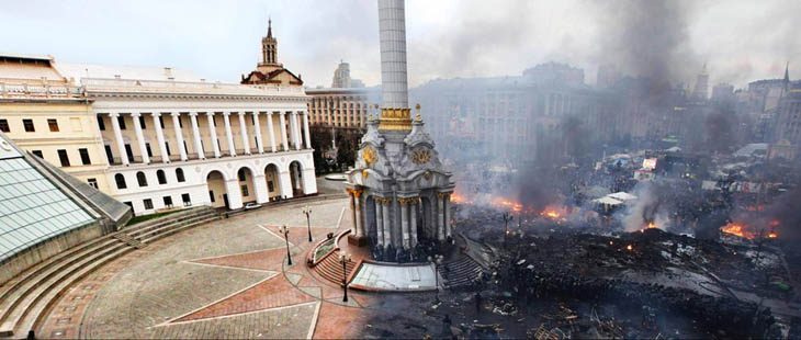 21st century photos - Kiev's Independence Square before and after the revolution [2014]