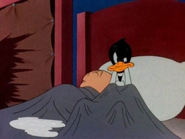 Childhood Shows Memory Ruined - Daffy Duck's puddle should be yellow.