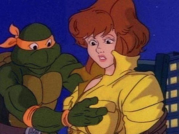 Teenage Mutant Ninja Turtle wants to know what's in her shirt.