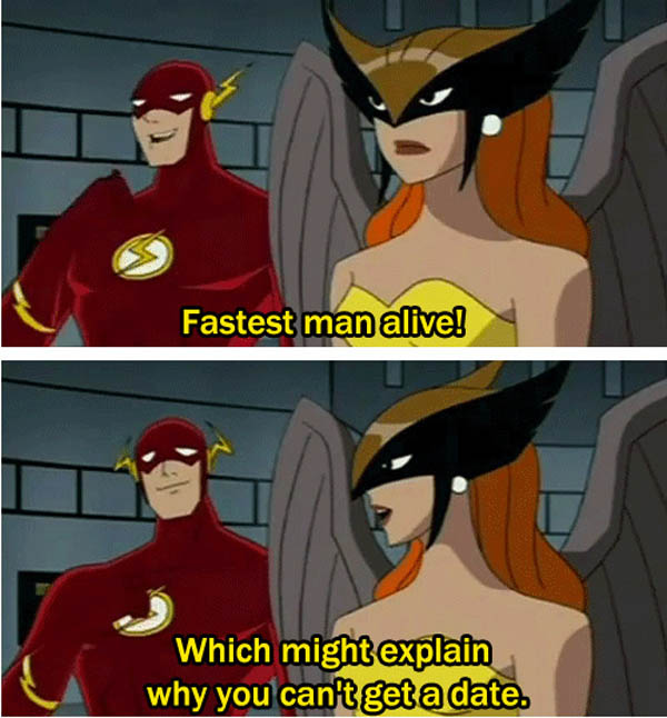 Flash and Hawk Girl's conversation about his love life.