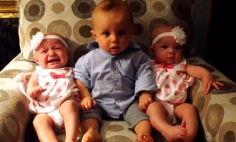 Hilarious Reaction Of Confused Baby Who Meets Baby Twins For The First Time.