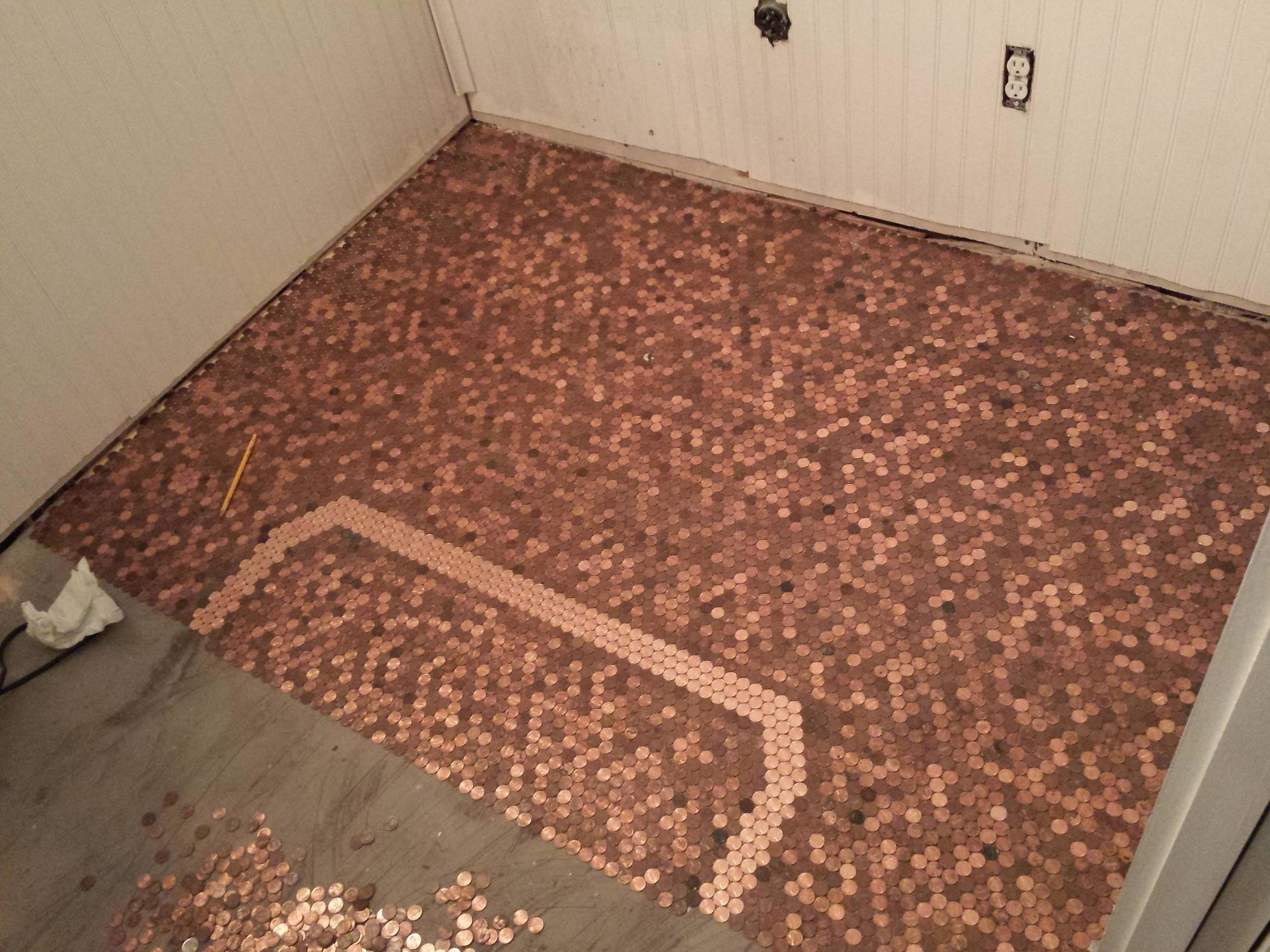 He made an awesome penny floor out of old pennies you can too now you can