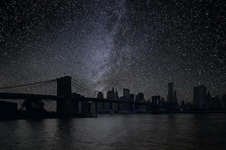 Night Sky in The Brooklyn Bridge, New York City