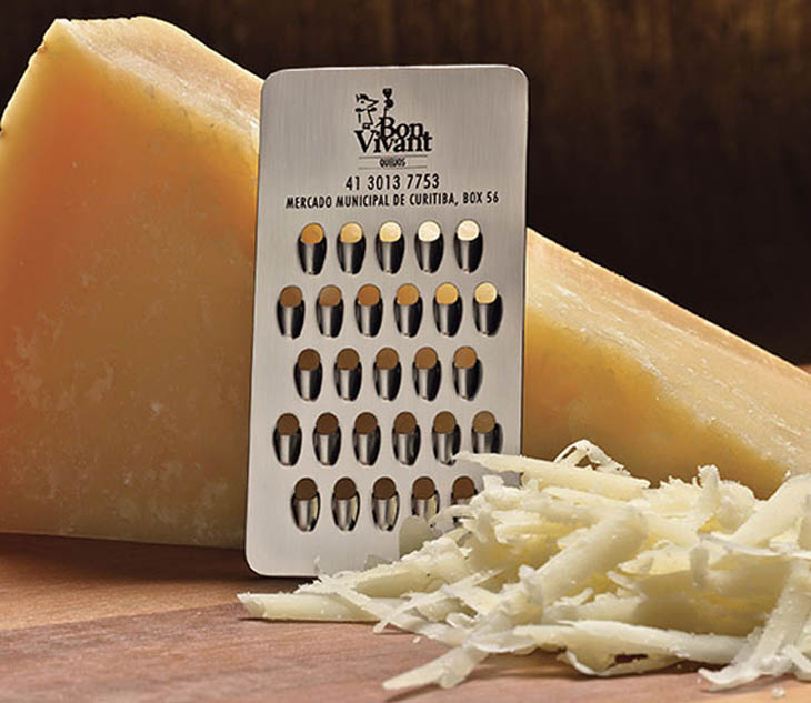 The incredibly useful cheese grater business card.