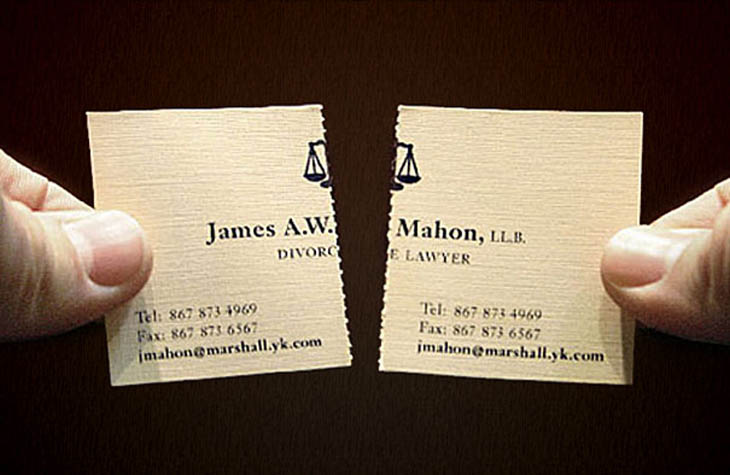 A perforated divorce attorney business card. It's actually 2 cards in one.
