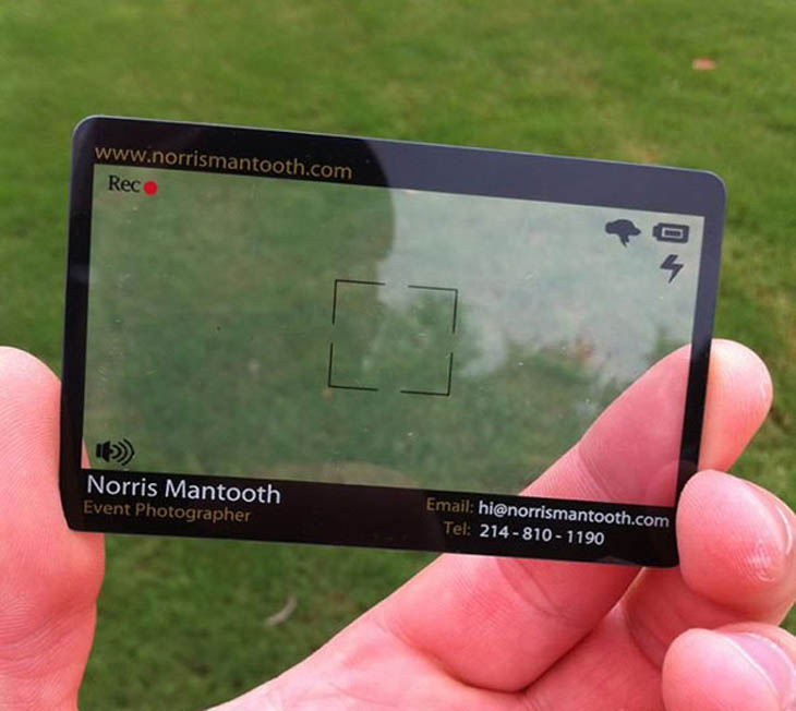 A photographer's viewfinder business card.