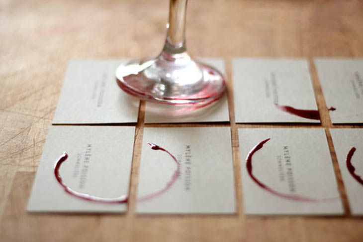 Sommelière wineglass business cards. Stained with red wine, every card is unique.