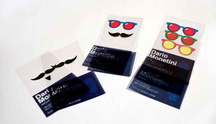 Funny transparent business cards for giving people funky faces.