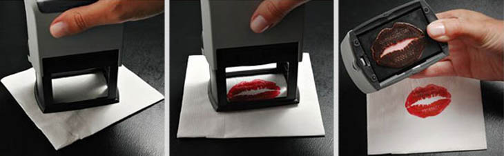 Smartest business cards - Make up business cards made with lipstick.