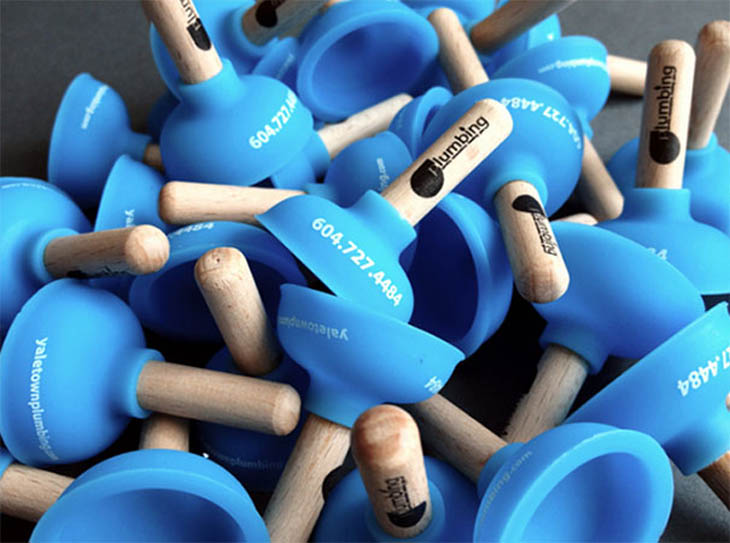 Smartest business cards - Mini plungers for plumbers!